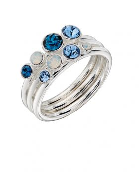 Set of 3 Stacker Rings with Blue Mix Crystals R3594