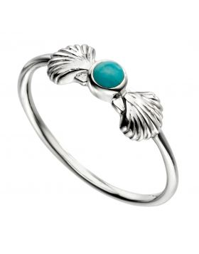 Turquoise and shell ring