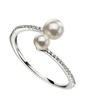 Double pearl ring with micropave CZ shank