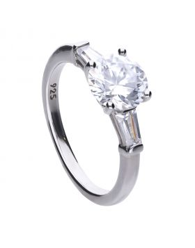 Triple stone 2.5 ct round and baguette ring with Diamonfire cubic zirconia