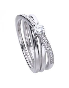 Wrap 0.49 ct pave ring with Diamnfire cubic zirconia