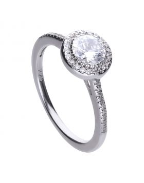 Round cluster and pave set ring with Diamonfire cubic zirconia