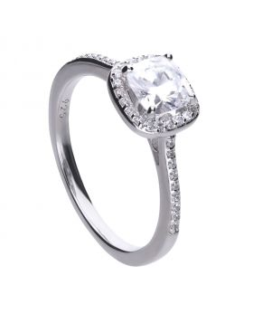Square solitaire and pave set ring with Diamonfire cubic zirconia