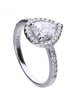 Teardrop ring silver with white Diamonfire zirconia and PAVÉ setting