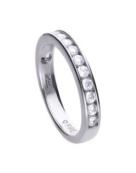 Collectable ring silver with white zirconia stones and channel setting