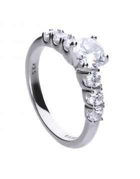 1.6 ct solitaire and partially set ring with Diamonfire cubic zirconia