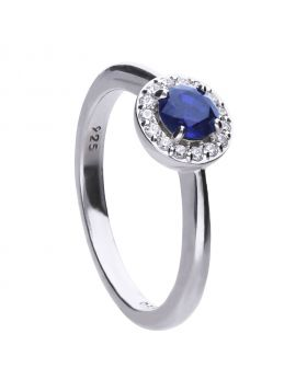 Round 0.65 ct solitaire pave set ring with blue Diamonfire cubic zirconia