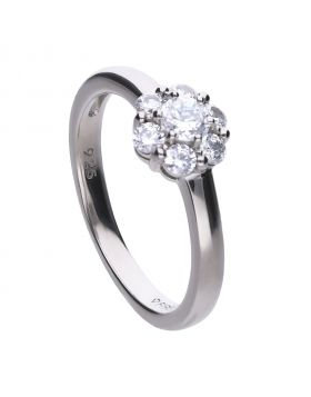 Floral shape ring with claw set Diamonfire cubic zirconia