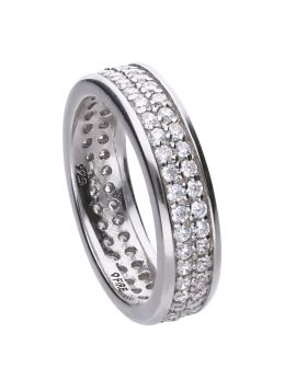 Band ring silver with white zirconia stones and pave setting. Total ca 1,17 ct