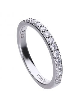 Half claw set band ring with Diamonfire cubic zirconia