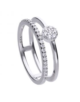 Fine ring silver with white zirconia stones and double ring band. Total ca 0.325 ct