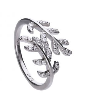 Leaf shape 0.28 ct ring pave set with Diamonfire cubic zirconia