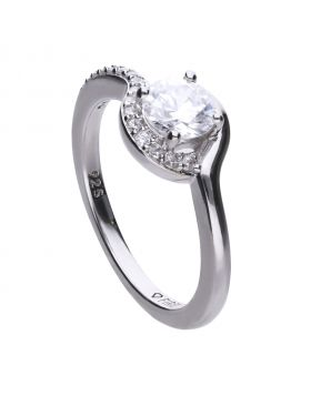 Round 1.06 ct ring stone set on one side with white Diamondfire cubic zirconia