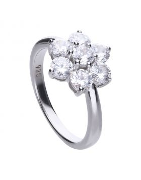 7 stone flower cluster ring with Diamonfire cubic zirconia