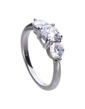 3 stone trilogy ring with 1 ct and 1/2 ct Diamonfire cubic zirconia