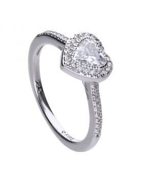 Heart pave set ring silver with Diamonfire cubic zirconia