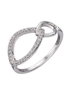 Double navette with CZ ring