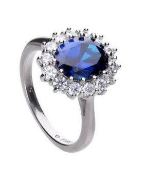 Large oval pave ring with blue Diamonfire cubic  zirconia