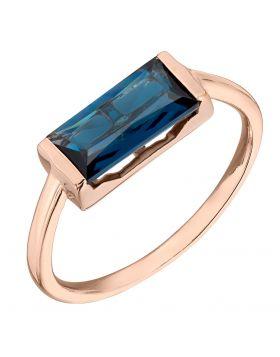 Rose gold open side blue baguette Ring