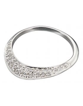 Silver flat CZ pave ring