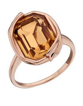 Colorado Topaz  Swarovski Rose Gold Ribbon Detail Ring