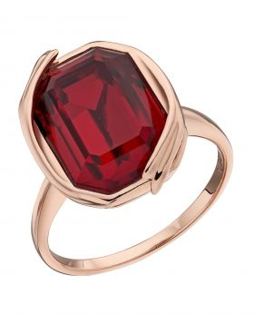 Rose Gold Plated Ribbon Detail Ring with Siam Red Coloured Crystal