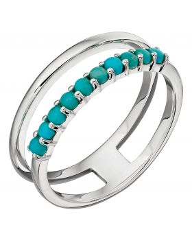 Turquoise and Silver Double Bar Ring