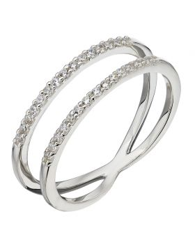 white CZ double band ring