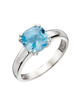 Blue Topaz Cushion Cut Ring (R3717T)