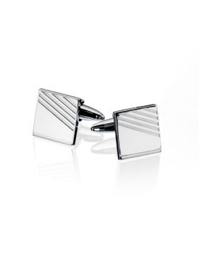Stainless Steel Ribbed Detail Cufflink