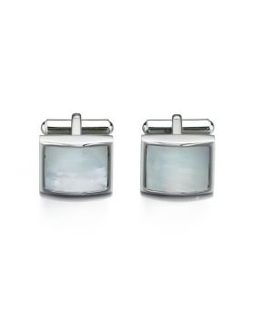 Stainless Steel White Mother Of Pearl Cufflink