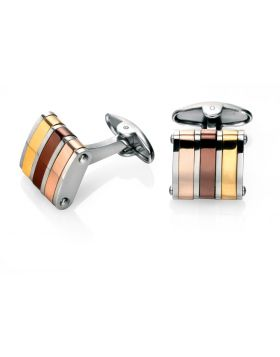 Stainless Steel Gold,Brown And Rose Pvd Cufflinks