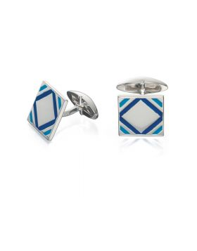 Blue Epoxy Square Cufflinks