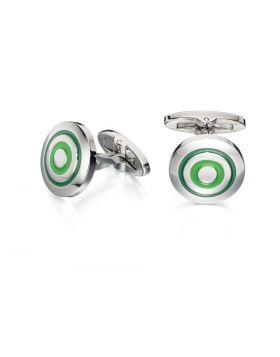 Green Enamel Round Cufflinks