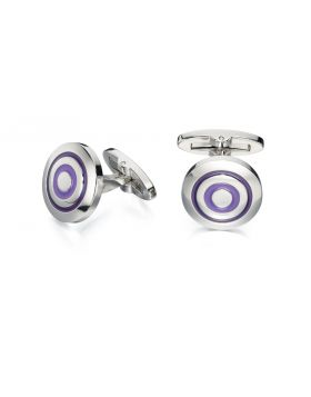 Purple And Lilac Enamel Round Cufflinks