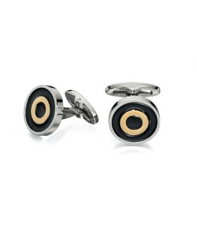 Gold and Black Enamel Round Cufflinks