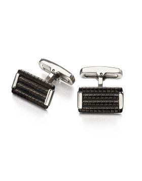 Ridge Black Rectangle Cufflinks
