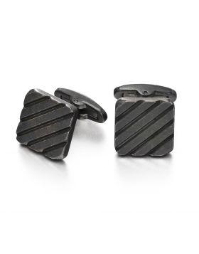 Ribbed Worn Grey Cufflinks