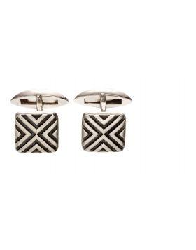 Sterling silver oxidised linear cufflinks