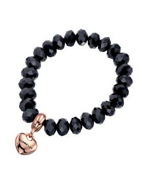 Black Bead and Rose Gold Heart Charm Stretch Bracelet