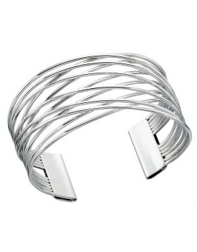 Rhodium Plated Crossover Wire Bangle