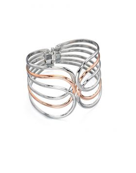 Rose Gold and Silver Organic Shape Clamp Bracelet