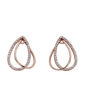 Rose Gold Tear Drop Loop Earrings