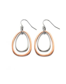 Rose Gold and Silver Organic Shape Drop Earring