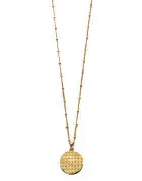 Textured Disc Gold Necklace