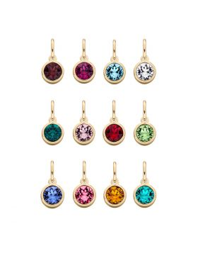 12 Pack Yellow Gold Plated Birthstone Pendants (Z1494)