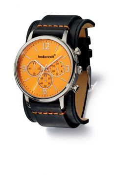 Black Leather Strap and Orange Dial Watch