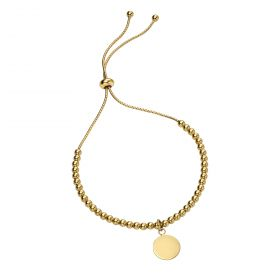 Gold Plated Ball Bracelet with Plain Disc (B5241)