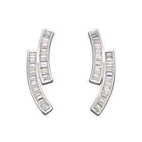 CZ Baguette Long Stud Earrings (E5924C)
