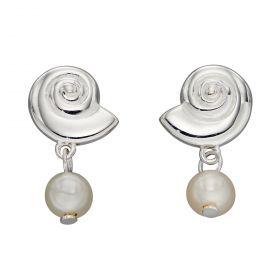 Shell Stud Drop Earrings with Pearls (E5934W)